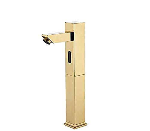 Grifo con sensor automático Todo cobre Inteligente Automático sin contacto Grifo del fregadero del baño Grifo con sensor de calor y frío único de oro Lavabo Infrarrojo