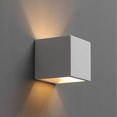 KOSILUM - Applique plâtre cube blanc - Nevada - Lumière Blanc Chaud Eclairage Salon Chambre Cuisine Couloir - 1 x 40 W - - G9 - IP20