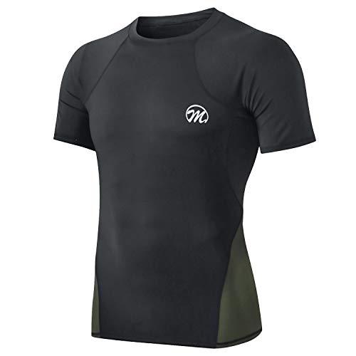 MEETWEE Maglia Compressione Uomo, Maglia a Manica Corta Asciugatura Rapida Fitness T-Shirt da Sport per Corsa Palestra Fitness