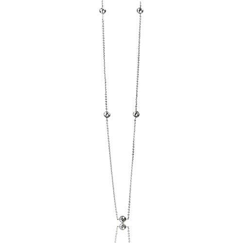[京都ジュエリー工房] ネックレス 316L 1.2mm 平あずきチェーン 60cm ロング チェーン 4mm スワロフスキー 88ファセット キュービック 伏せ込み フクリン 5石 プラチナ ホワイトゴールド 天使の涙 w1s45-sw002