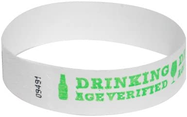Neon Wrist Bands For Festivals - Drinking Age Verified 100 Count, Red EventWristband Premium Age Verified Tyvek Wristbands Over 21 /& Verified Identification Event Wristband Paper Bracelets