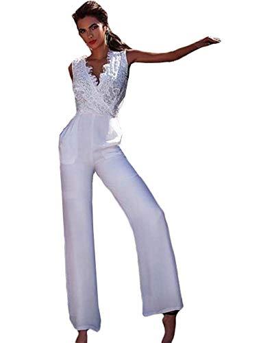 The Peachess Einfache Strand-Jumpsuits Hochzeitskleider Country V Ausschnitt Spitze Applikation Boho Brautkleider - Weiß - 50