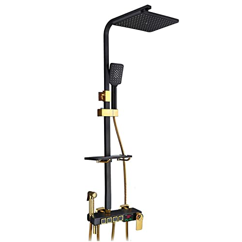 Sistema de ducha LED termostático, juego de ducha de latón para baño con grifo de cabezal de ducha, juego de mezclador de ducha negro dorado montado en la pared para el gimnasio del dormitorio del ho