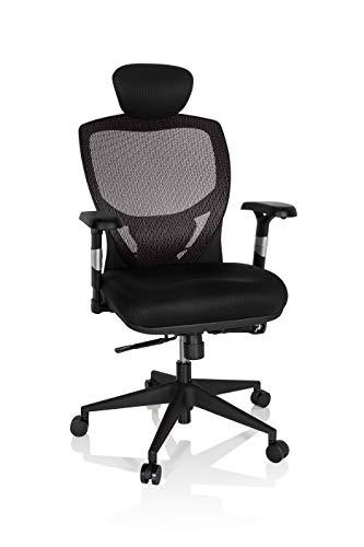 hjh OFFICE 657130 silla de oficina VENUS BASE asiento tela/respaldo malla gris/negro silla ergonómica