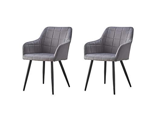 KJ Esszimmerstühle 2er Set mit armlehne Schlafzimmer Samt Stühle Metallbeine,Stoffbezug Lounge Sessel, Polsterstuhl mit Armlehnen Wohnzimmer stühle im Modern Stil,Grau