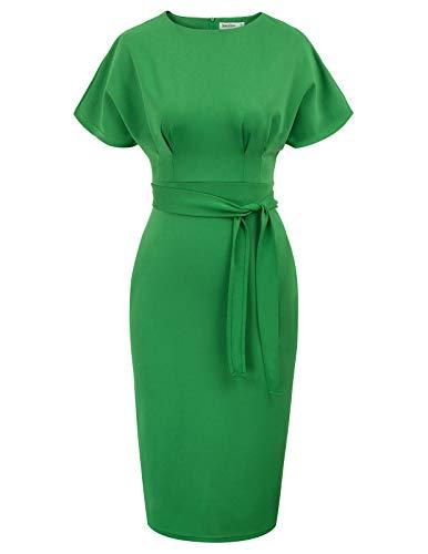 JASAMBAC Women's Green Business Dresses for Work Office Knee Length Pencil Dress Plus Size Green 3XL