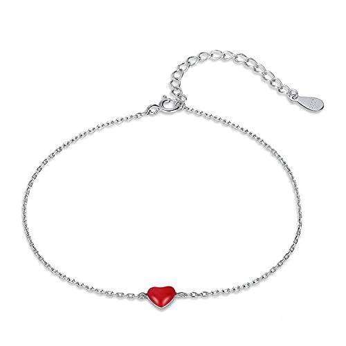 Pulsera Plata Ley 925 En Forma Corazón Pulsera Simple Ajustable para Mujer Parejas Amigos Mamás Niñas Cumpleaños Amor Familia Amistad Regalos