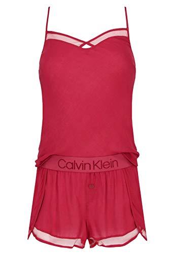 Calvin Klein Damen CAMI/Short Sleep Set Zweiteiliger Schlafanzug, Violett (Raspberry Jam 2XV), X-Small (Herstellergröße:XS) (2er Pack)