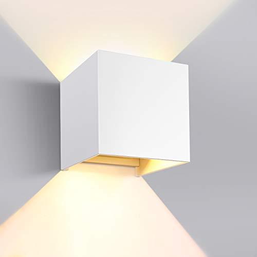 GHB Wandleuchte Wandlampe 12W LED Wandbeleuchtung mit einstellbar Abstrahlwinkel IP65 Wasserdichte 2700K Warmweiß (Weiß)