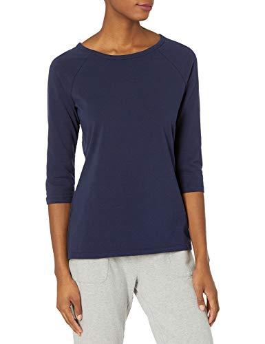 Hanes womens Stretch Cotton Raglan Sleeve Tee Shirt, Navy, XX-Large US