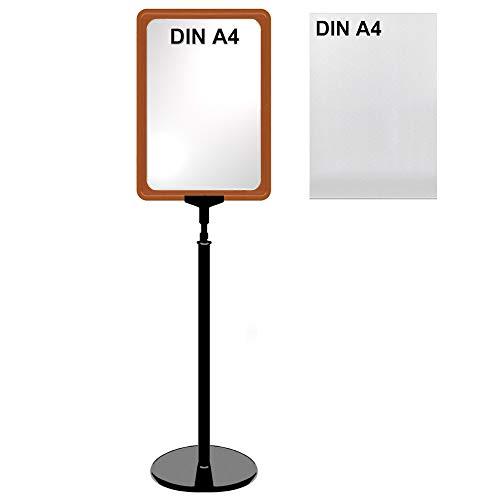 Plakatständer DIN A4 Rahmen rot mit U-Tasche, Ständer Kunststoff schwarz, Teleskopständer mit rundem Fuß, Kundenstopper höhenverstellbar bis 68 cm, Aufsteller
