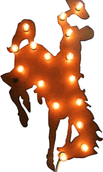 Wyoming Bronc with Hat Lighted Marquee Sign