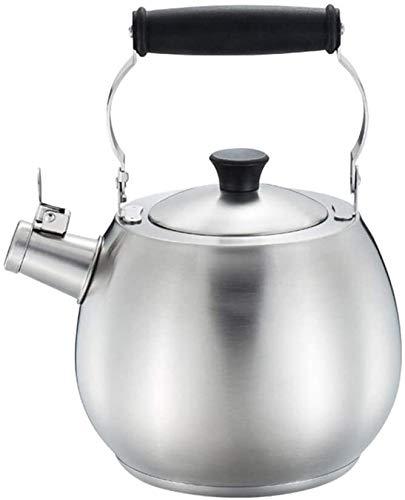 Bouilloire induction 2.5L Cuisinière à induction de gaz de ménage Général Inox Sifflet Kettle Silver 14x15.5cm WHLONG