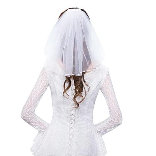 TPTPMAY Tul Vestido de Novia Velos Blanco Cinta Borde Diamantes de imitación Perlas Falsas Corto Novia Velo Peine Novia Hada Matrimonio Accesorios Velos de Novia Marfil Encaje