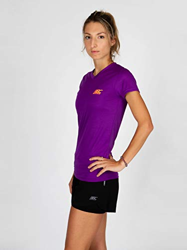 BODYCROSS Maillot Manches Courtes Col V Femme Paz Violet Running, Jogging, Training - Léger, Respirant, Anti-Bactéries et Anti-Odeurs