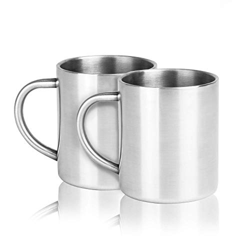 Set of 2 Stainless Steel Mugs | Double Walled Coffee Cup | Tea Set | 300ML Insulated Cups | Shatterproof | Camping Mugs | M&W