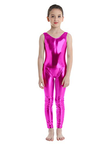 inlzdz Mailot de Ballet para Niñas 3-14 Años Mono de Gimnasia Brillante Pantalones Largos Leotardo Elástico Jumpsuit Ropa de Actuación Traje de Bailarina Rosa Oscuro 7-8 Años