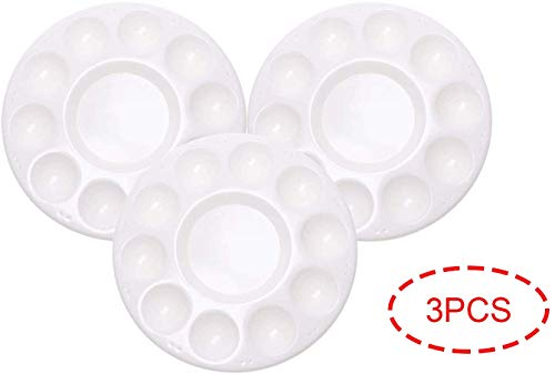 PENTA ANGEL Art Paint Tray Palette 3Pcs 10 Well Plastic Round Paint Tray for Kids Watercolor Painting(Round-3PCS)
