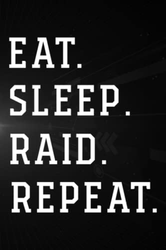 Treasure Hunting Log Book - Vintage Eat Sleep Raid Repeat Wow Gaming Video Gamer Design Funny: Raid, Journal To Keep Record Of Treasure Name, Date, ... Time, ... Member & Notes - Gifts For Treasu