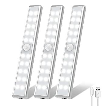 LED Closet Light OxyLED 20 LED Rechargeable Motion Sensor Closet Lights Wireless Under Cabinet Lights Stick-on Stairs Step Light Bar LED Night Light Safe Light for Wardrobe Kitchen  3 Packs