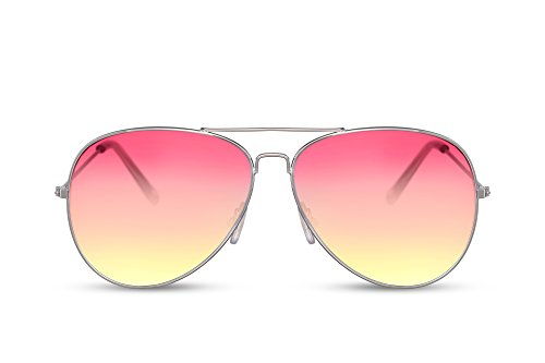 Cheapass Gafas de Sol Piloto Montura Plateada Rosas Moradas Coloreadas lentes amarillas Categoría Protección 2 UV400