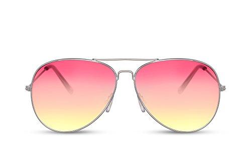 Cheapass Sonnenbrille Piloten-Sonnenbrille Silber-n Pink bis Violett Getönt Flieger-Brille Gradient-Linsen Verlaufsglas UV-400 Cat-2 Metall Damen