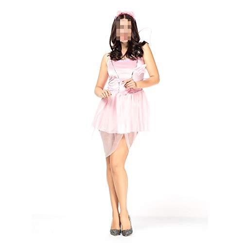 kMOoz Disfraz De Halloween,Disfraz De para Niña Halloween Disfraz Vestido Halloween Cosplay,Disfraz De Halloween Bosque Elfo Rosa Flor Hada Princesa ángel Disfraz