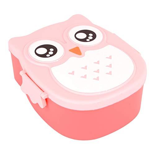 Lunch Box - Fiambrera con caja extra para aperitivos, fiambrera para niños, búho, pícnic, 1050 ml, color rosa