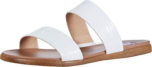 Steve Madden Women's Dual Slide Sandal, White Croco, 7.5