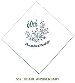 Pack of 15 Luxury Diamond 60th Wedding Anniversary Foil Finished Large Napkins (3 Ply)