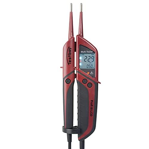 Testboy Profi III LCD Zweipoliger Spannungsprüfer CAT IV 1000 V mit FI-Test (großes beleuchtetes LCD, Einhandbedienung, Prüfung ohne Fingerkontakt), Rot/Schwarz