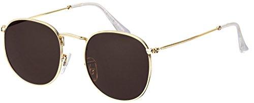 Sonnenbrille La Optica UV 400 Schutz Unisex Damen Herren Retro Rund - Gold Rahmen (Gläser: Braun)