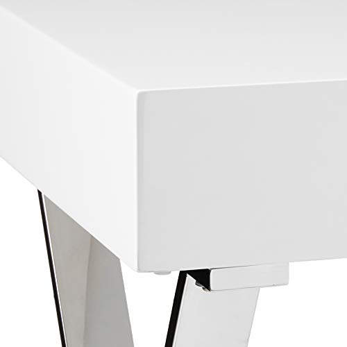 Whiteline Contemporary Modern Elm High Gloss Desk with One Drawer and Stainless Steel Base, Small, White