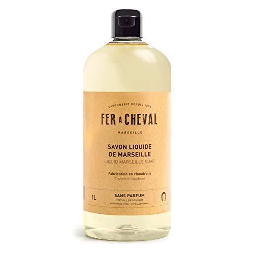 Fer à Cheval - Véritable Savon de Marseille Liquide Sans Parfum - Sans Conservateur, Sans Colorant, et Hypoallergénique, il est Doux pour la Peau des plus Sensibles - 1 Litre