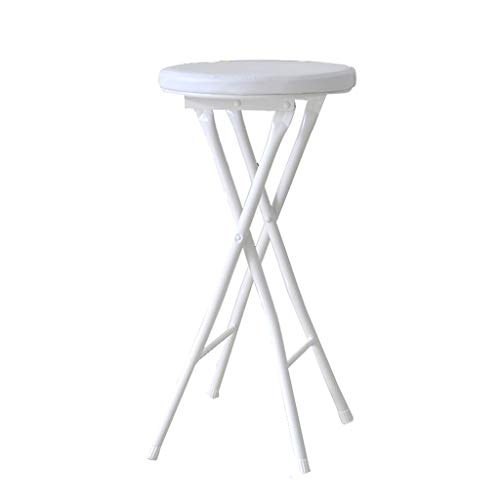 ShJttt-chair or stool Taburete Plegable Oficina en casa Silla portatil Simple Taburete Alto Taburete de Bar pequeno para Mesa de Comedor (30 * 30 * 48cm (Color : Blanco)