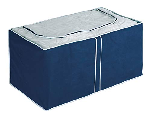 Wenko Jumbo-Box Air, Aufbewahrungsbox für Textilien, mit Sichtfenster und 3-Seiten-Reißverschluss, schützt vor Motten, Staub und Schmutz, aus atmungsaktivem Vlies-Material, 91 x 48 x 53 cm, Navy
