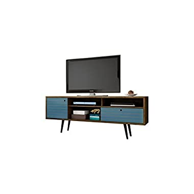 Manhattan Comfort Liberty Collection Mid Century Modern TV Stand With Three Shelves, One Cabinet and One Drawer With Splayed Legs, Wood/Blue