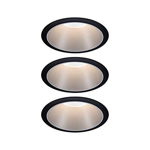 Paulmann 93408 LED Einbauleuchte Cole rund incl. 3x6,5 Watt dimmbar Einbaustrahler Schwarz, Silber Einbaulampe Kunststoff, Alu Zink Deckenspot 2700 K