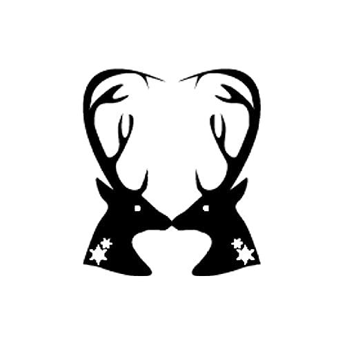 A/X Sticker de Carro 10,7 CM * 12,4 CM Idea de Navidad con Espejo de Alce Pegatina de Vinilo para Coche Negro/Plata C23-0029Negro