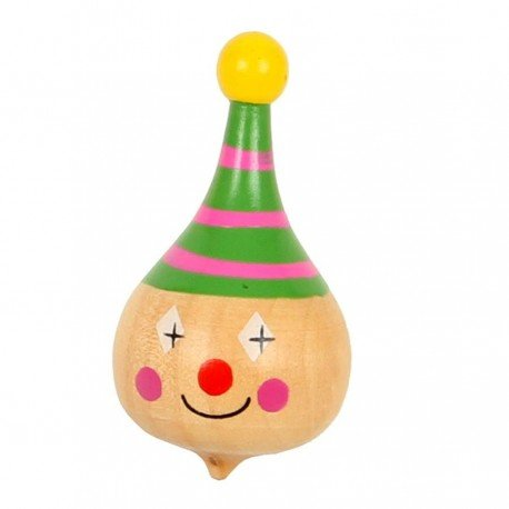 Toupie en bois pour enfants Petit Jouet en bois tête de clown Jeu d'adresse