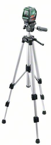 Bosch PLL 2 Kreuzlinienlaser Set + Zielplatte + Schutztasche + Stativ (Arbeitsbereich 10m, Nivelliergenauigkeit ±0,5 mm/m)