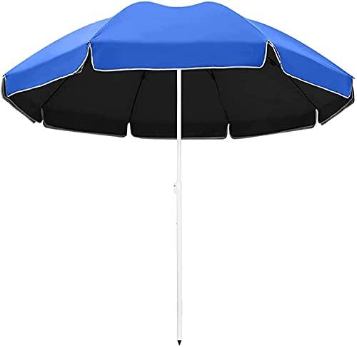 GCSQF Sombrilla de jardín Parasol Sombrilla de Patio Sombrilla de Mercado Grande Sombrilla de Exterior Sombrilla de Playa Redonda Protección UV Ligero Ajustable GCSQF210603(Color:Blue;Size:2.2M)