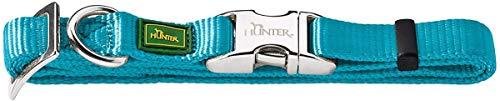 HUNTER VARIO BASIC ALU-STRONG Halsung, Hundehalsband, Nylon, Aluminium Steckverschluss, L, petrol