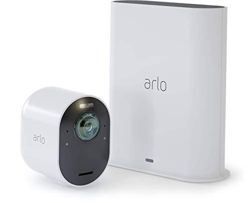 Arlo Ultra 4K HDR Kit de 1 Caméra Intelligente Connectée, éclairage Intégré, Rechargeable, sans Fils, Audio Bi-Directionel, Étanche, Jour/Nuit, Vision Nocturne Coloreée, Grand Angle 180° (VMS5140)
