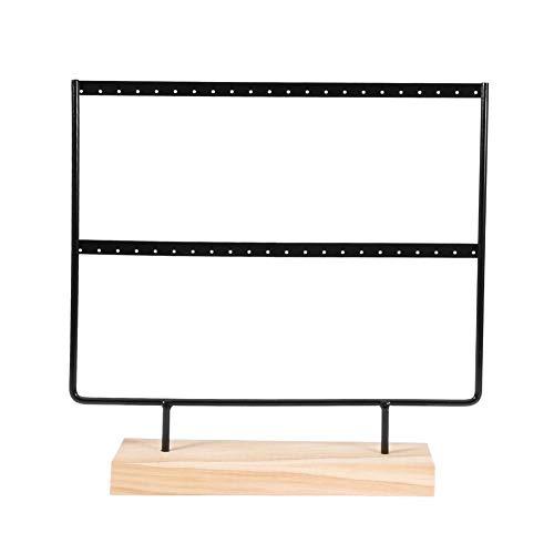 Soporte de joyería, soporte de exhibición de 44 agujeros, soporte de pendientes de plato de madera sólido y duradero, para exhibición en la tienda(Black (large 44 holes))
