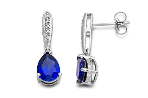 Pendientes Miore para mujer en plata de ley 925 con zafiro azul y diamantes naturales