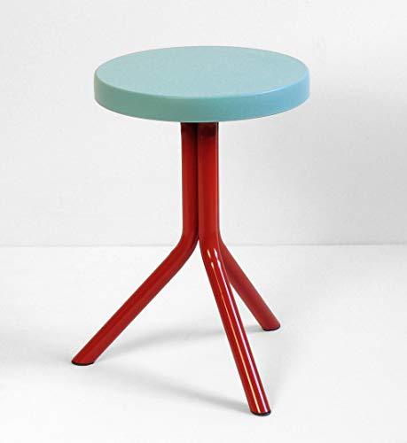 Sgabello design Made in Italy Quattroviti Lifetools (Rosso e azzurro) - sgabello basso (h 50 cm) per bagno e cucina con tre punti di appoggio e seduta in silicone sfoderabile e lavabile