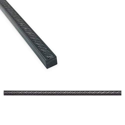 Braided Rope Tile Trim 1/2 x 12 inch Shower Ceramic Tile Edge Pencil Liner Backsplash Wall Molding - Wrought Iron Metal Finish (6 Pack)