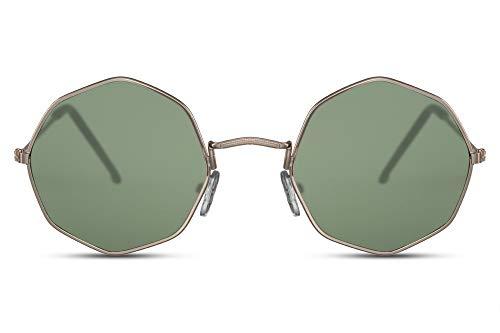 Cheapass Sunglasses Sonnenbrille klein gewunden achteckige goldene Metallfassung mit grünen Gläsern. UV400-geschützt Männer Frauen