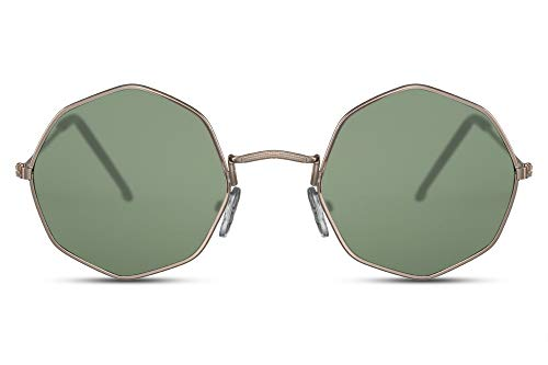 Cheapass Gafas de Sol Pequeñas Montura Girada Octogonal Dorada con Cristales Verdes protección UV400 Hombres Mujeres